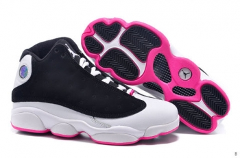 AAA Air Jordan 13 Women Black White Pink