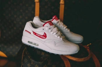 Supreme x Louis Vuitton x Nike Air Max 1 Custom LV x Sup White Red