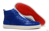 Women Christian Louboutin High Rivet Blue White 230