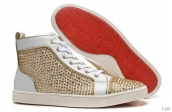 Women Christian Louboutin High Drill White Golden 260