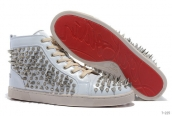 Women Christian Louboutin High Rivet White Silvery 260