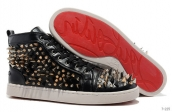 Women Christian Louboutin High Rivet Black Golden White 240
