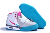 Air Yeezy II Women Glow White Grey Pink Blue