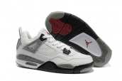Air Jordan 4 Women White Black Grey