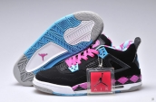 Air Jordan 4 Women Black Pink Blue PE