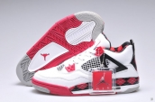 Air Jordan 4 Women White Black Red PE