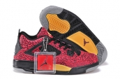Women Air Jordan 4 Elephant Print Red Black Yellow