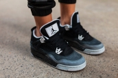 Perfect Women Air Jordan 4 Retro Oreo Fear Pack