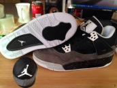 Perfect Women Air Jordan 4 Suede Grey Black