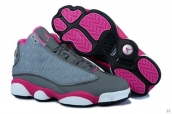 Perfect Women Air Jordan 13 Grey Rose Red