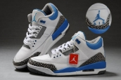 AAA Air Jordan 3 Women Leather White Blue