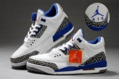 AAA Air Jordan 3 Women Leather White Navy Blue