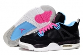 AAA Air Jordan 4 Women Suede Black Blue Pink White