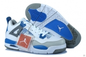 AAA Air Jordan 4 Women White Grey Blue