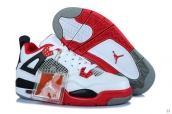 AAA Air Jordan 4 Women White Red Black