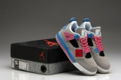 Women AAA Air Jordan 4 Grey White Pink Blue