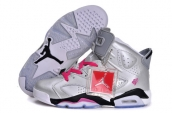 AAA Women Air Jordan 6 Silvery Pink Black