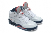 Air Jordan 5 Perfect White Navy Blue Red