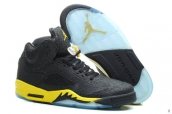 Perfect Air Jordan 5 Elephant Print Black Yellow 200