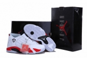 Air Jordan 14 Retro Leather Sneakers White Red AAA