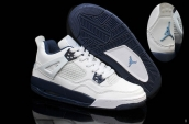 AAA Air Jordan 4 Retro Women White Navy Blue