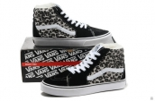 Women Vans High Down Leopard Black Grey White