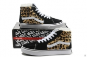Women Vans High Down Leopard Black Yellow White