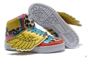 AAA Adidas Jeremy Scott Wings Leopard Yellow Pink Blue