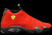 Super Perfect Air Jordan 14 Ferrari Red Black Suede