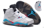 AAA Air Jordan 6 Women White Blue Pink Silvery Black