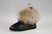 Women Winter Boot 5854 AAA Foxfeather Leather Black