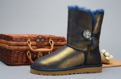 Women Winter Boot 1002174 AAA Navy Blue Golden