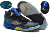 AAA Air Jordan 5 Black Blue Yellow