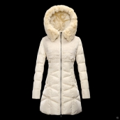 Moncler Down Coat Women 13045 Creamy White