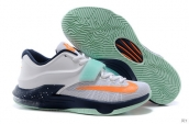 Nike KD VII White Navy Blue Orange Light Green