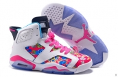 AAA Air Jordan 6 Women Flowers White Pink Blue