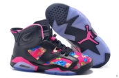 AAA Air Jordan 6 Women Flowers Black Pink