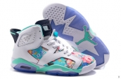 AAA Air Jordan 6 Women Flowers White Light Green