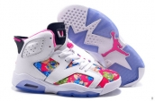 AAA Air Jordan 6 Women Flowers White Pink
