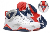 Perfect Air Jordan 7 White Navy Blue Red Golden Silvery