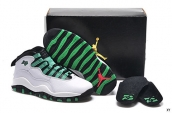 Women AAA Air Jordan 10 Retro Bulls Over Broadway White Green Black