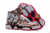 AAA Air Jordan 13 Women Flower Coffeee Pink White