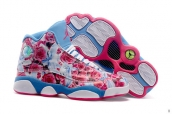 AAA Air Jordan 13 Women Flower Pink Blue