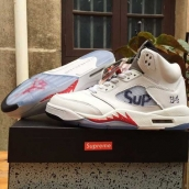 AAA Air Jordan 5 Supreme White Red 150