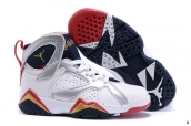 Air Jordan 7 Kids White Silvery Navy Blue Golden