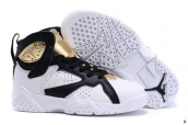 Air Jordan 7 Kids White Black Golden