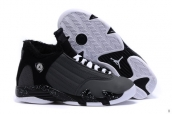 AAA Air Jordan 14 Women Down Grey Black White