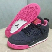 AAA Air Jordan 4 Women Denim Navy Blue Pink