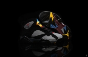 Air Jordan 7 Kids Black Grey Red Golden Blue