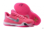 Nike Kobe 10 Low Breast Cancer Pink White Silvery